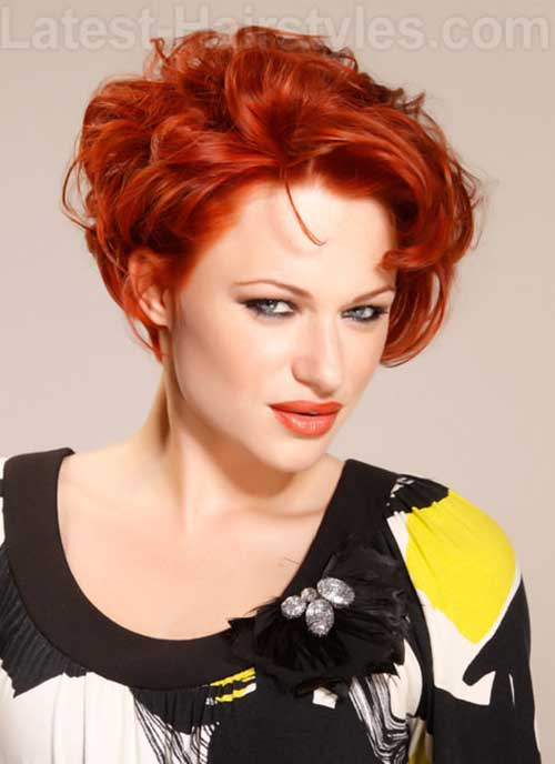 Modern Red Curly Short Hair Style