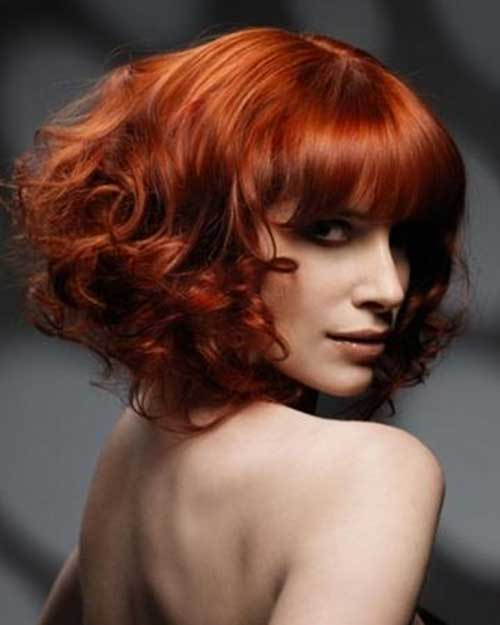 Red Curly Bob Cut with Blunt Bangs