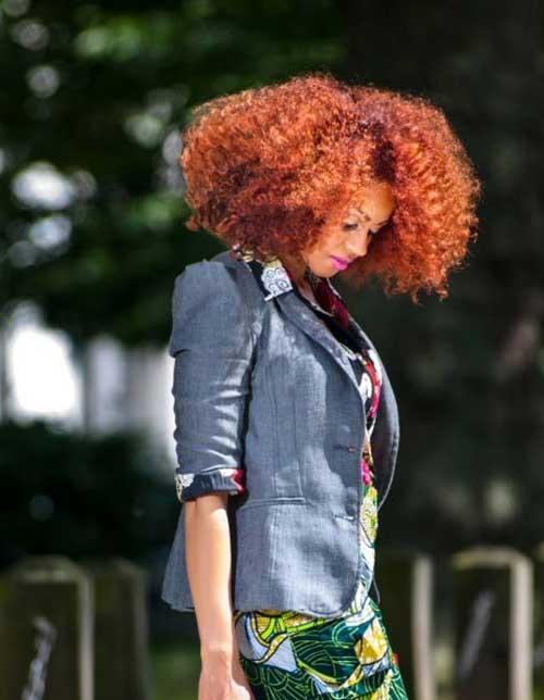 Red Curly Thick Bob Idea