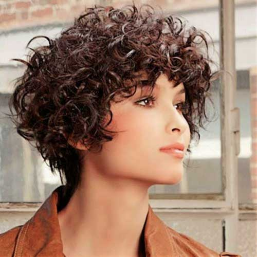 Short Bob Haircuts for Frizzy Curly Dark Brown Hair