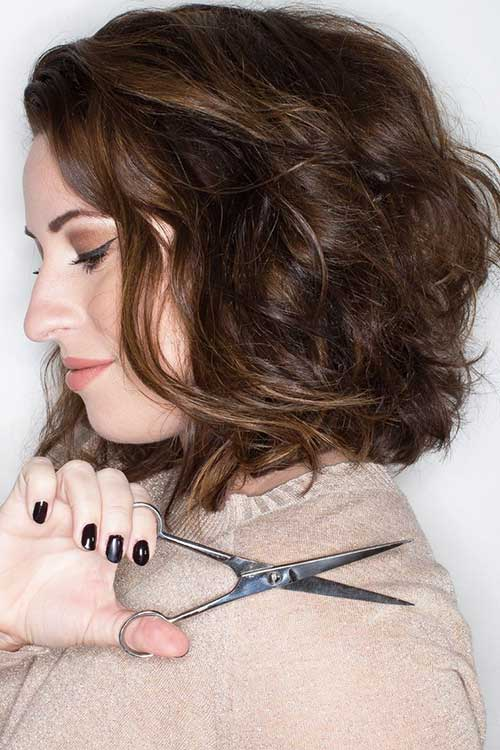Short Hairstyles for Round Faces and Curly Brown Hair