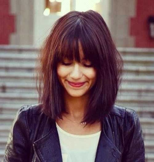 Short Shoulder Length Thick Bob with Bangs Styles