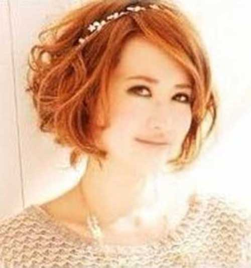 Short Wavy Red Bob Haircuts for Round Faces