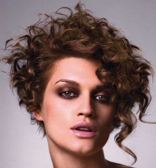 Asymmetrical Curly Short Hairstyles 2015