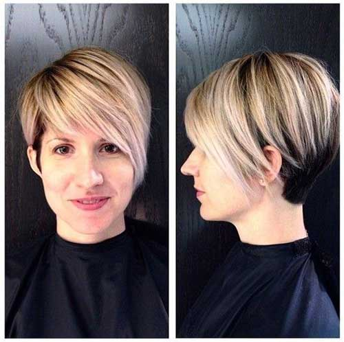 Blonde Highlighted Long Pixie Hair Cut 2015