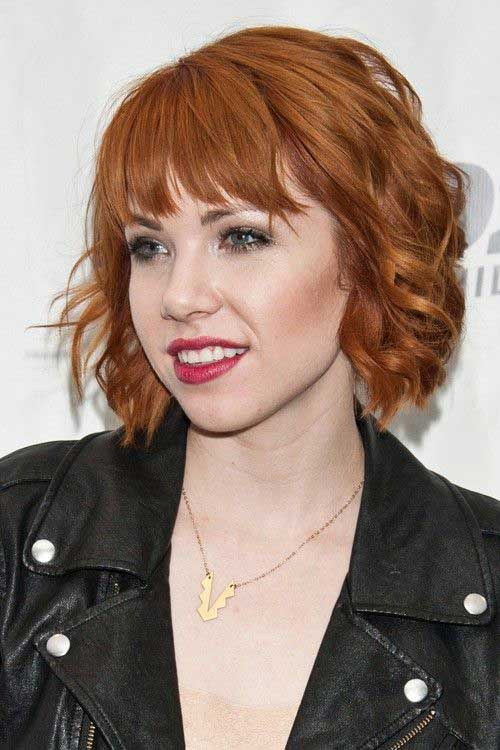 Copper Short Hairstyles Wavy Curly Style