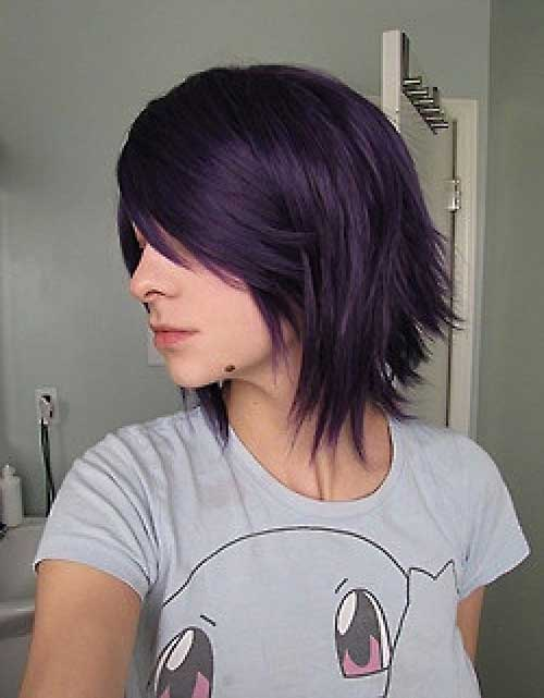 Cute Easy Short Dark Purple Hairstyles