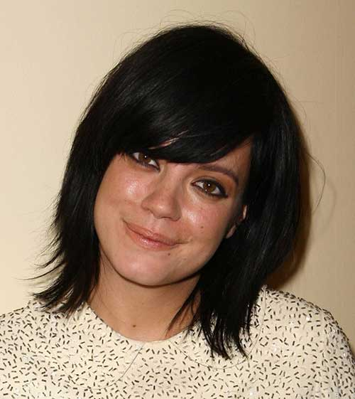 Dark Bob with Side Swept Bangs Styles