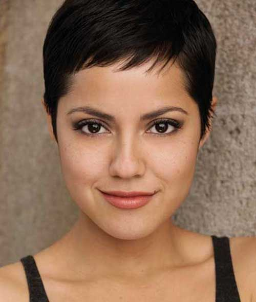 Dark Pixie Haircut For Round Face