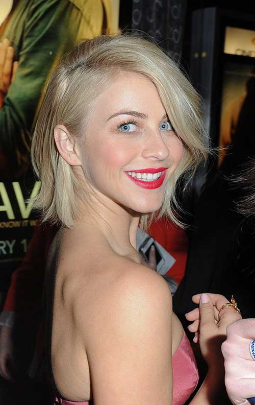 Julianne Hough Side Swept Bob Cuts