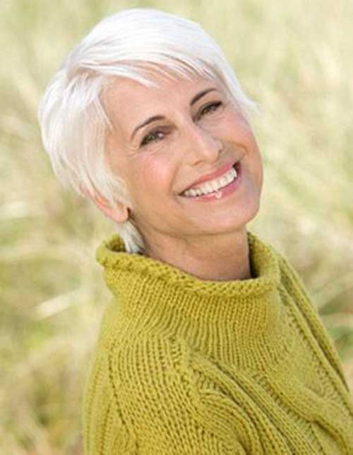Layered Fine Straight Haircuts for Older Ladies