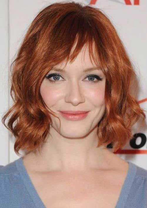 Red Layered Wavy Short Haircuts 2015