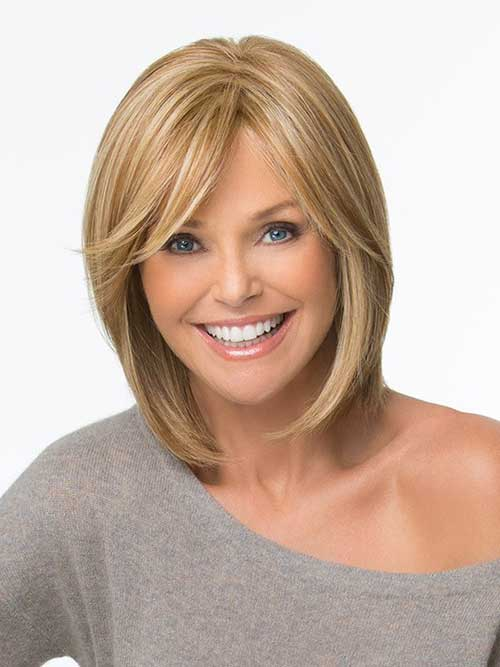 Long Fine Bob Hairstyles with Side Swept Bangs