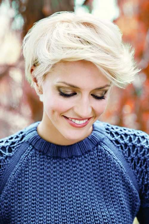 Medium Length Blonde Pixie Cut