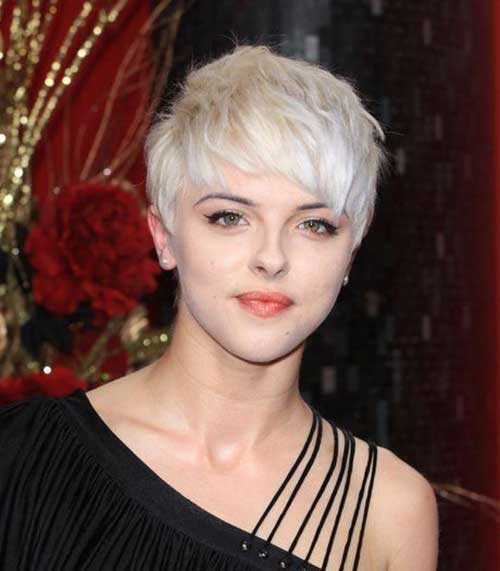 Shaggy Platinum Blonde Pixie Cuts