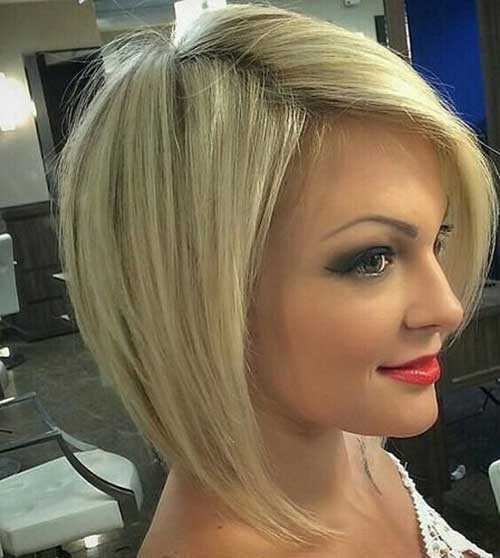 Short Asymmetric Blonde Bob