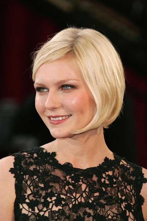 Short Blonde Bob Hairstyles with Side Swept Bangs