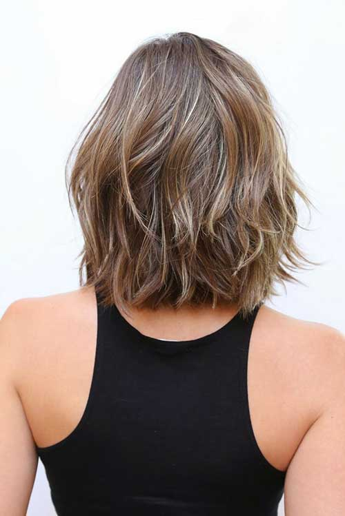 Short Layered Haircuts Wavy Hair Back View