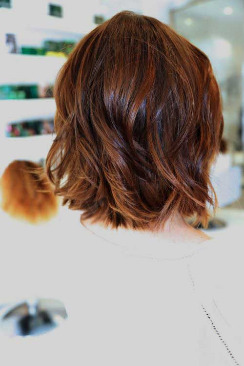 Short Brown Layered Haircut For Wavy Hair Back View