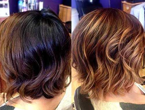 Short Layered Balyage Hairstyles for Wavy Hair