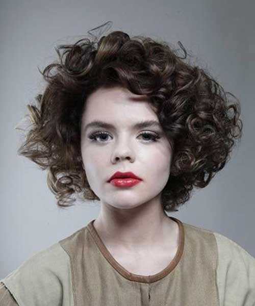 Short Thick Curly Brown Hairstyles