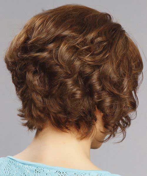 Short Thick Curly Inverted Hairstyles Back View