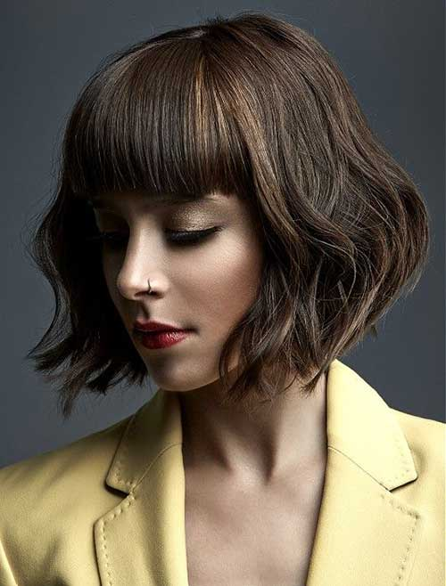 Wavy Short Haircuts with Bangs