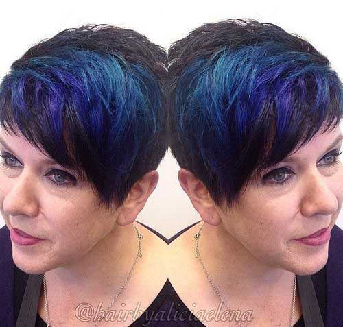 Blue Highlighted Pixie Hairstyles