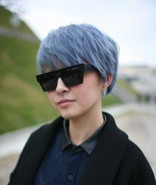 Grey Blue Pixie Cut