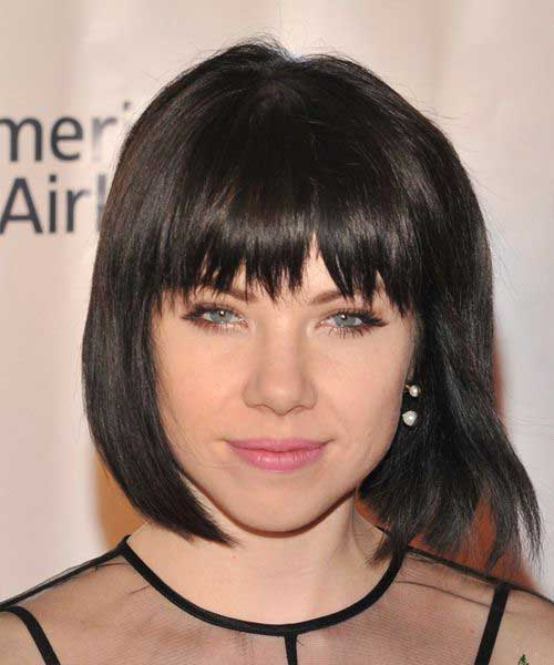 Best Brunette Bob with Blunt Bangs