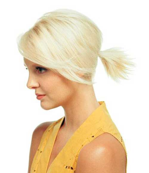 Cute Ponytail Blonde Hairstyles for Short Hair