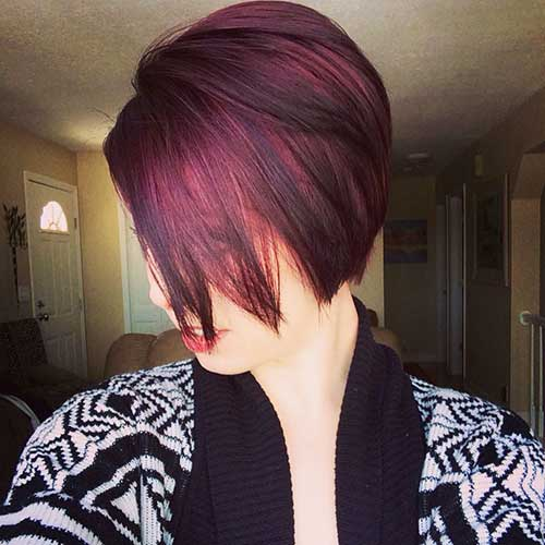 Dark Red Pixie Hair Cut