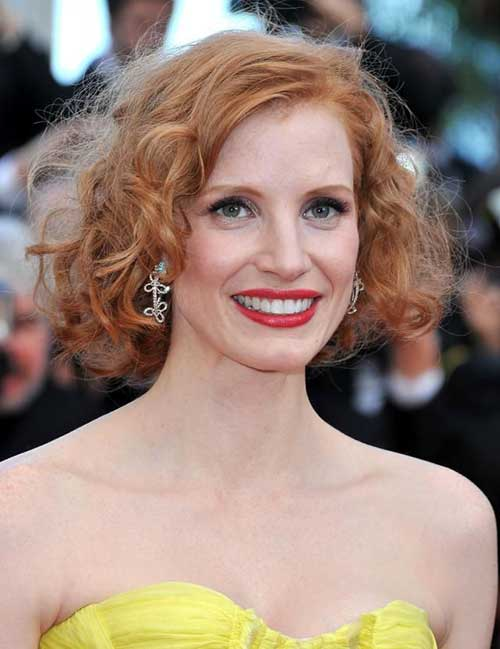 Ginger Short Curly Hairstyles for Oval Faces