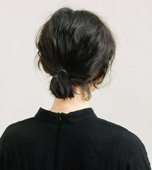 Girls Short Hair Bun Back View