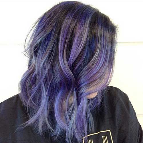 Long Purple Hair Bob Styles