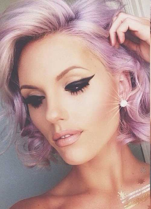 Pink Purple Short Hair Color 2015