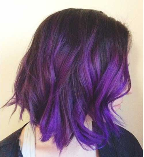Purple Colored Bob Hair Cuts