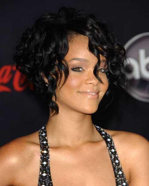 Rihanna Curly Bob Hairstyles
