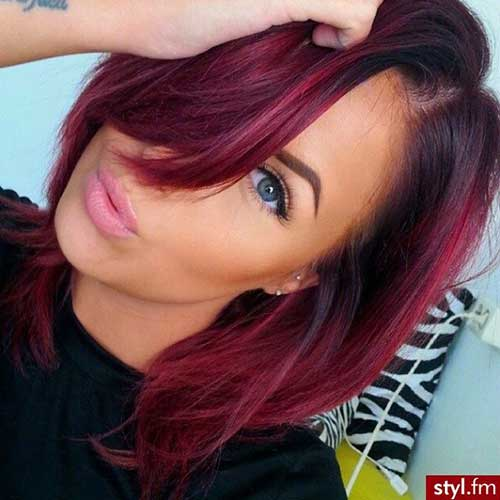 Short Burgundy Ombre Hair Color 2015