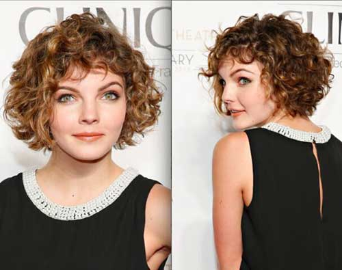 Short Curly Hairstyle For Round Faces
