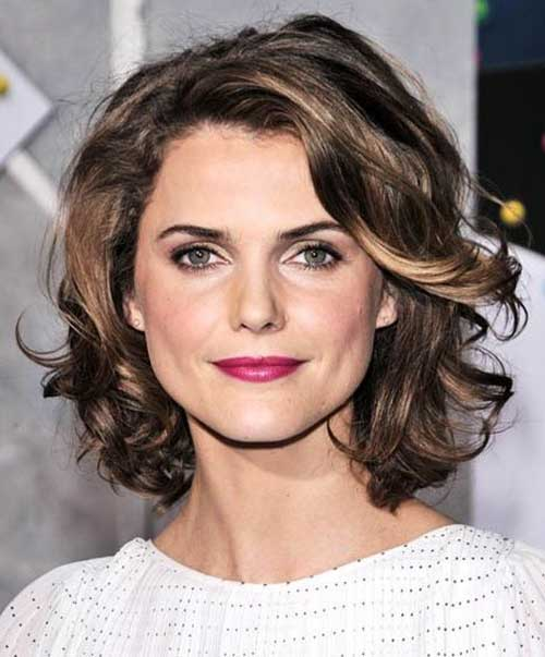Short Curly Highlighted Hairstyles for Round Faces