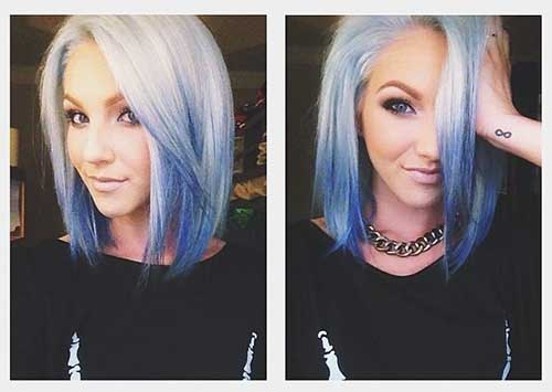 Short Hair Blue Ombre Color Ideas