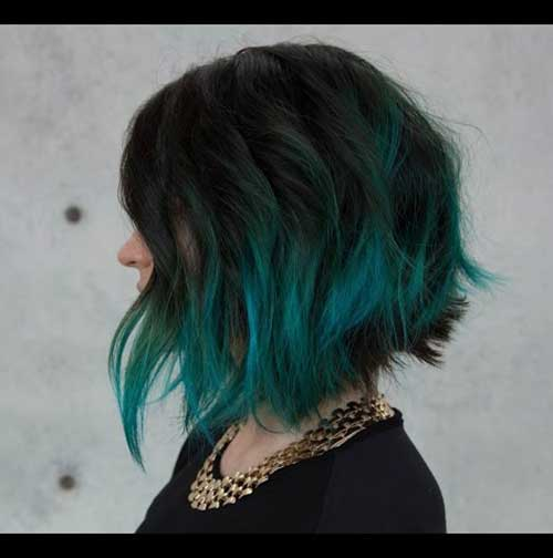 Short Hair Green Ombre Color 2015