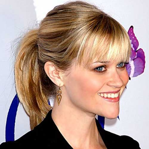 Short Hair with Bangs Cute Ponytail Styles