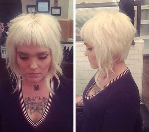 Here Is An Inverted Bob Hairstyle With Stacked Back And Short Bangs,  Platinum Blonde Hair Color Is Also Looks Great With This Style.