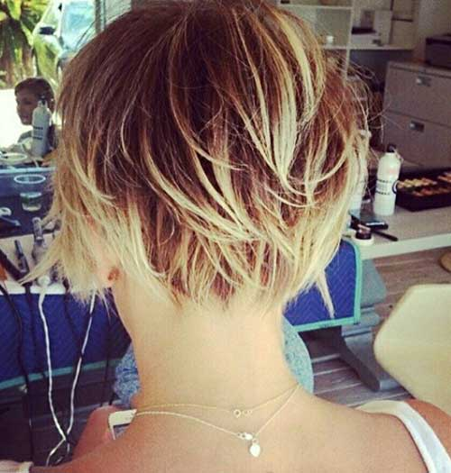 Short Highlighted Hair Color Back View