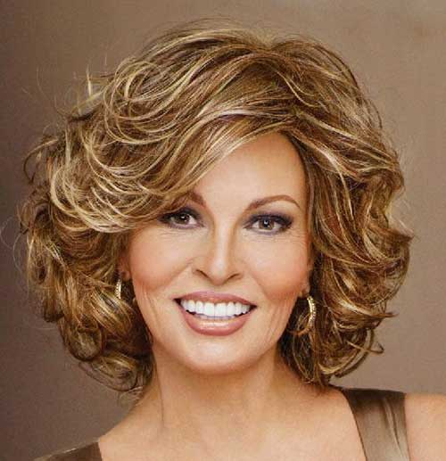 Short Soft Curly Hairstyles for Round Faces