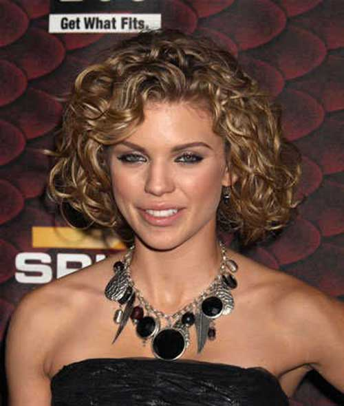 Short Thick Curly Hairstyles for Round Faces