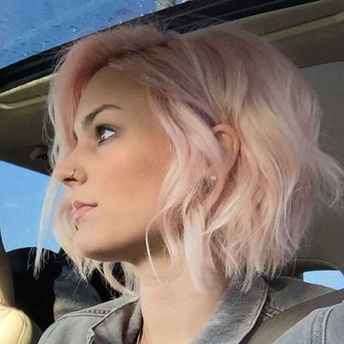 Short Wavy Pink Blonde Hair Color 2015