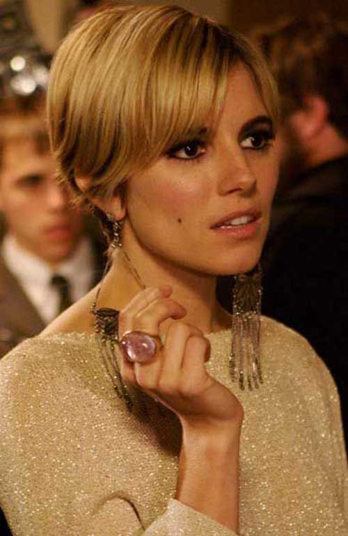Sienna Miller Fine Hair Long Pixie Cut